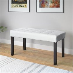 Faux Leather Bench in White