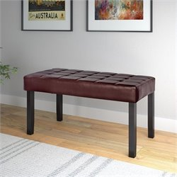 Faux Leather Bench in Brown