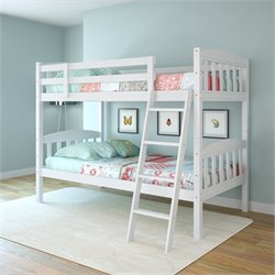 Twin Single Bunk Bed in Snow White