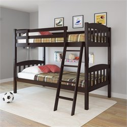 Twin Single Bunk Bed in Dark Cappuccino