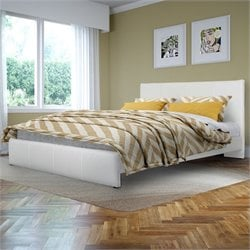 Queen Bed in White Bonded Leather