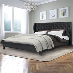 Tufted King Bed in Black Bonded Leather