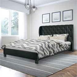 Tufted Queen Bed in Black Bonded Leather