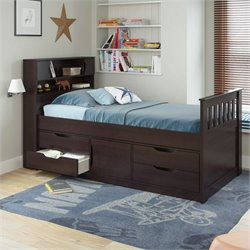 Twin Single Captain's Bed in Rich Espresso