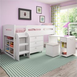 5-Piece All-in-One Single Twin Loft Bed in Snow White