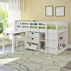 Single Desk and Storage Twin Loft Bed in Snow White
