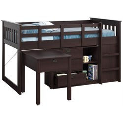 Single Desk and Storage Twin Loft Bed in Rich Espresso