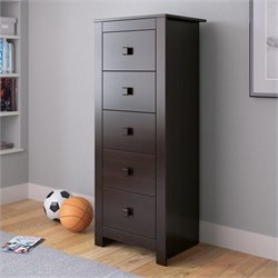 Tall Boy Chest of Drawers Dresser in Rich Espresso