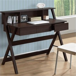 3-Drawer Desk in Modern Wenge with Low Profile Hutch