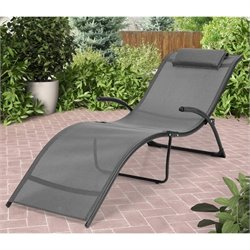 Reclined Lounger In Black and Silver Grey