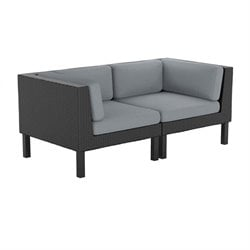 2 Piece Patio Loveseat in Black