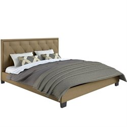 Diamond Tufted Upholstered King Bed in Latte