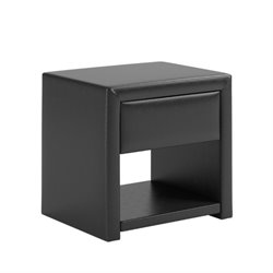 Faux Leather Upholstered Nightstand in Black