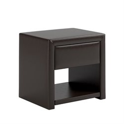 Faux Leather Nightstand in Black Espresso