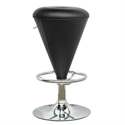 Cone Shaped Adjustable Bar Stool in Black
