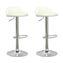 Low Profile Adjustable Bar Stool in White (Set of 2)