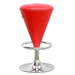 Cone Shaped Adjustable Bar Stool in Red