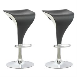 Adjustable Two Toned Bar Stool in Black and White (Set of 2)