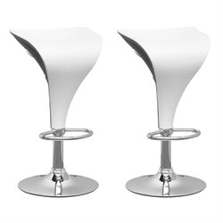Adjustable Bar Stool in White and Black (Set of 2)
