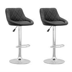 Adjustable Diamond Back Bar Stool in Black (Set of 2)