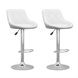 Adjustable Diamond Back Bar Stool in White (Set of 2)