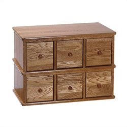 6-Drawer Deluxe CD Modular Storage Cabinet in Oak