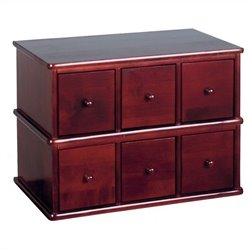 Leslie Dame 6-Drawer Deluxe Modular CD Storage Rack in Cherry