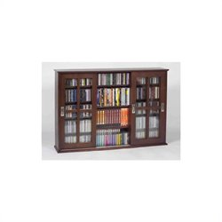 Wall Hanging Sliding Door Multimedia Cabinet in Walnut