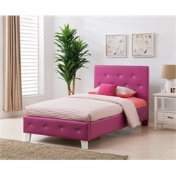 Upholstered Twin Panel Bed in Pink