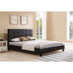 Upholstered King Panel Bed in Brown