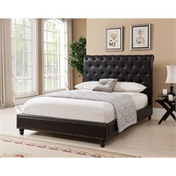 Upholstered Queen Panel Bed in Brown