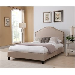 Upholstered King Panel Bed in Beige