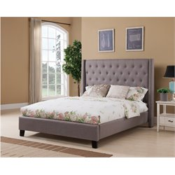 Upholstered King Panel Bed in Charcoal