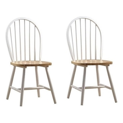 Dining Chair in White and Natural (Set of Two)