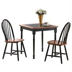 Square 3 Piece Dinette Set in Black and Cherry