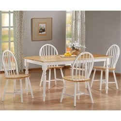 Boraam Farmhouse 5 Piece Dining Set in White and Natural