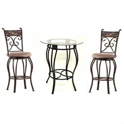 Bar Height Metal 3 Pieces Pub Set in Black and Gold