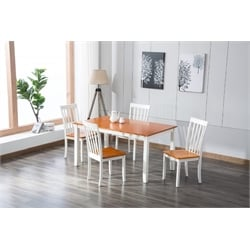 Dining Chair in White/Honey Oak (Set of 2)