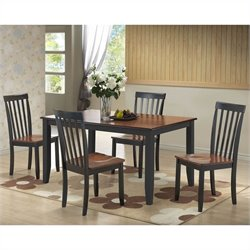 5 Piece Dining Set in Black/Cherry