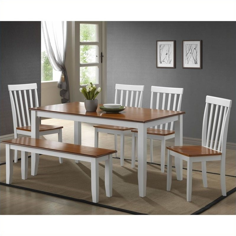 Boraam Bloomington 6 Piece Dining Set in White/Honey Oak