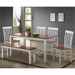 Boraam Bloomington Dining Set in White/Honey Oak