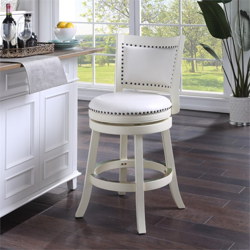 Boraam 24 Quot Bristol Swivel Bar Stool In White 42424
