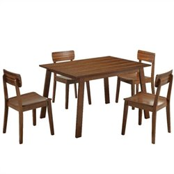 5 Piece Hagen Dining Set in Rich Walnut