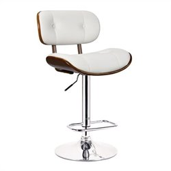 Adjustable Swivel Bar Stool in White
