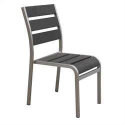 Side Chair in Solid Brushed Aluminum (Set of 4)