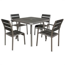 5 Piece Metal Patio Dining Set in Aluminum