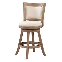 Boraam Melrose Wire Brush Swivel Bar Stool in Driftwood Gray