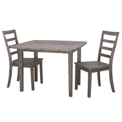 3 Piece Dining Set in Driftwood Gray Wire Brush