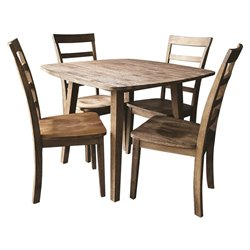 5 Piece Dining Set in Driftwood Gray Wire Brush