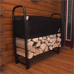 Heavy Duty Firewood Rack-in-a-Box with Cover in Black